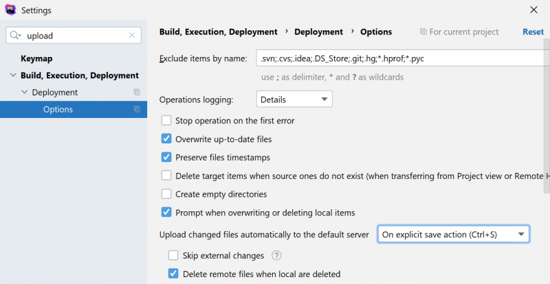 PhpStorm Settings: upload changed files automatically to the default server on save action